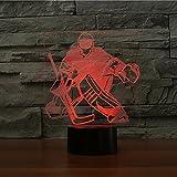 3D Eishockey Goalie Lampe optische Illusion Nachtlicht, 7 Farbwechsel Touch Switch Tisch Schreibtisch Dekoration Lampen perfekte Weihnachtsgeschenk mit Acryl Flat ABS Base USB Spielzeug