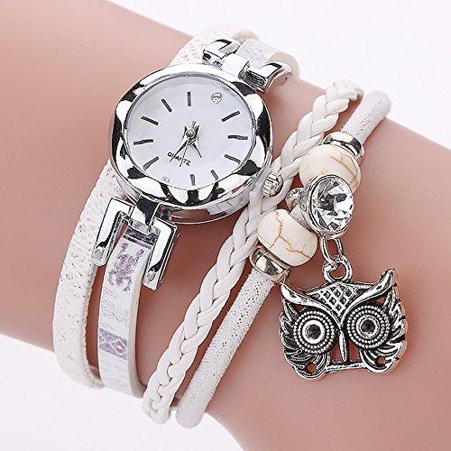 Armbanduhr Damen Ronamick Mode Frauen Mädchen Analog Quarz Eule Anhänger Damen Kleid Armband Uhr Armbanduhr Armband Uhr Uhren (B)