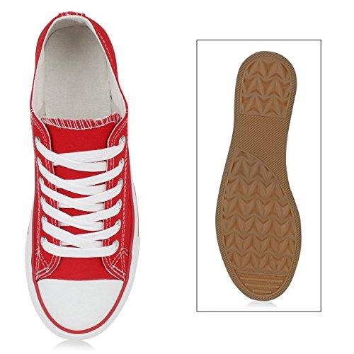 Freizeit Damen Sneakers Low Viele Farben & Größen Canvas Schuhe Rot Weiss