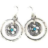 Aviv Ladies Silver Drop Circular Earrings With Opal Stone
