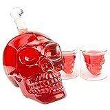 Skull-Flasche 1000ml mit 2 Totenkopfgläser 70ml, Totenkopfflasche, Vodka, Whiskey, Dekanter, Schnapsglas, Glas, BlueFox