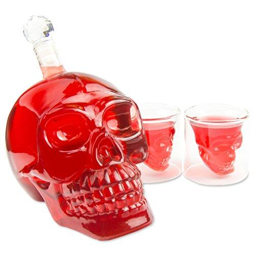 (Skull-Flasche 1000ml mit 2 Totenkopfgläser 70ml, Totenkopfflasche, Vodka, Whiskey, Dekanter, Schnapsglas, Glas, BlueFox)