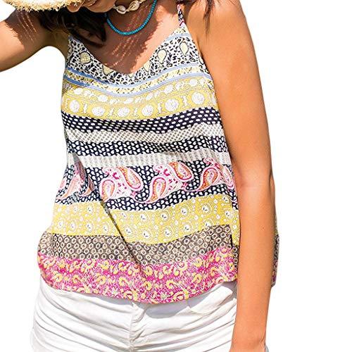 Frauen Casual Blumendruck Spaghettibügel Camis Tunika Tops Sommer V-Ausschnitt Paisley Sleeveless Flowy Tank Shirts Flowy Sleeveless