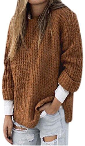 Oversized Sweaters Frauen Locker Pullover Damen Longpullover Winterpullover Strickjacke Warme Winterjacke Pulli Herbst Winter Khaki