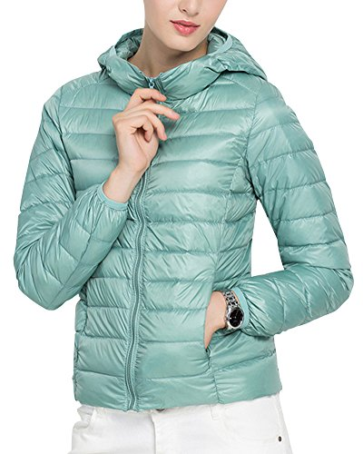 Veste A Capuche Femme - Doudoune Sport - Blouson d'hiver Chaude Courte Pink Bleu