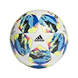 adidas Finale TT J350 Soccer Ball, Hombres, Top:White/Bright Cyan/Solar Yellow/Shock Pink Bottom:Collegiate...
