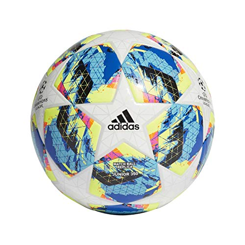 Adidas finale tt j350, pallone da calcio uomo, top:white/bright cyan yellow/shock pink bottom:collegiate royal/black/solar orange, 4