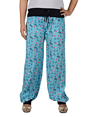 Pyjamas For Women, Night Dress, Lounge Wear, Sky Blue Color Printed Pyjama,–Soft Cotton Night Wear By Fflirtygo  available at amazon for Rs.249