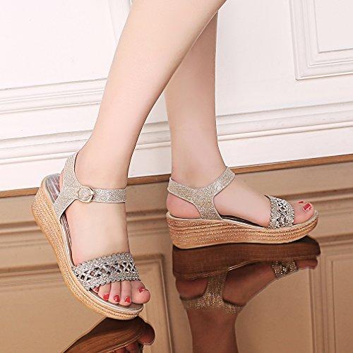 Ye Damen Offen Glitzer High Heel Sandalen Mit 6cm Keilabsatz Und