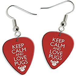 Pendientes Keep Calm And Love Pugs 2 X Guitarra Pick Earrings