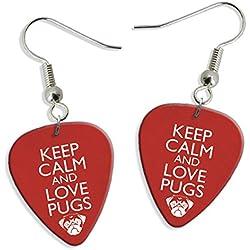Pendientes Keep Calm And Love Pugs 2 X Guitarra Pick Earrings