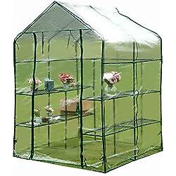 Flieks Foliengewächshaus Treibhaus Tomatenhaus Gewächshaus für Tomaten Gitterplane mit 8 Ablagen Anzucht, Stabiler Metallrahmen + PE (150X150X195, Transparent)