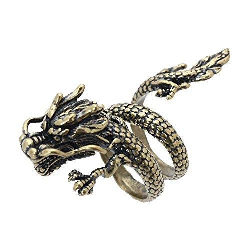 SODIAL(R) Anillo de Aleacion de espiral de abierto Joyas de bronce Dragon chino para hombres