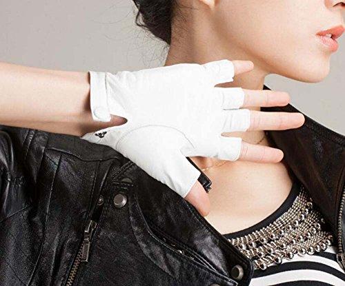 Unisex Half Finger Driving Lederhandschuhe Soft Lammfell Leder Fingerlose Handschuhe Klassische Motorrad Radfahren Reiten Ungefüttert Handschuhe Gut aussehend Hip-Hop Punk Showtime Handschuhe ( Color : Weiß , Size : M )
