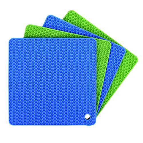 Dessous de plats silicone Lot de 4, Ankway Tapis de plat silicone d'isolation, plat silicone rectangulaire antidérapant, dessous plat de table pour cuisine, Micro-ondes et lave-vaisselle sûr-Vert/Bleu