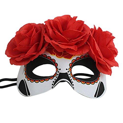 ke Gesichtsmaske Maskeradeball Halloween Kostüm Party - Rot 2, / (Tag Der Toten Maskerade Maske)