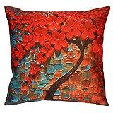 Ba Zha Hei Kissenbezüge Kissenhülle 3D Blumen Bäume Flachs Kissenbezug Werfen Kissenbezug Kissen Abdeckungen 45cm*45cm (Blau, 45cm*45cm)