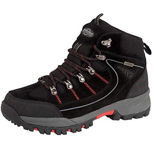 Northwest Territory Mens Rae - Stivale in pelle, impermeabile, per passeggiate, escursioni, trekking Black / Red