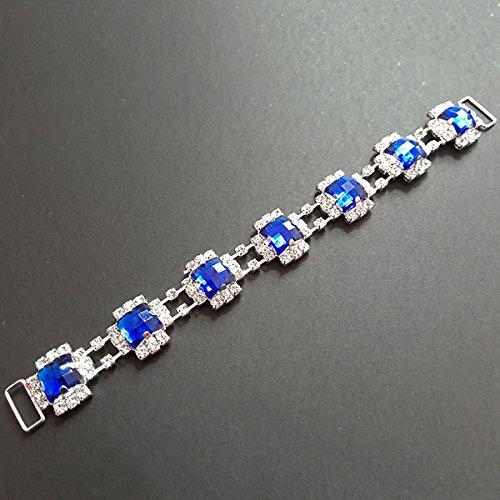 Nuovo 10Pcs sette connettori quadrati perline blu Rhinestone acrilico per