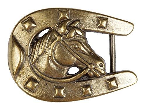 r Wechselgürtel, Gürtelschnalle, Buckle - Pferdekopf mit Hufeisen 7,5 x 5,5 cm, Gürtelbreite bis 40 mm ()