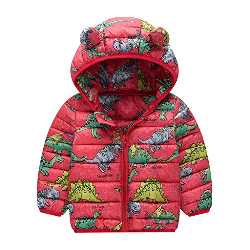 Livoral Kinder Winter Mantel Kleinkind Baby Boyss Winter-Karikatur-winddichter Mantel mit Kapuze warme Outwear Jacke(Rot,110)