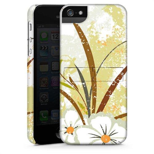 Apple iPhone 4 Housse Étui Silicone Coque Protection Fleur Vert Motif CasStandup blanc