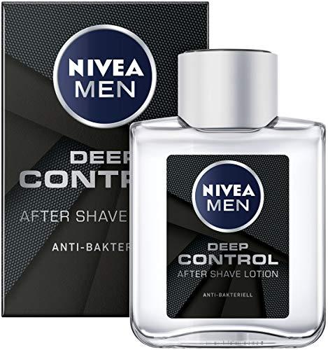 NIVEA MEN DEEP Control After Shave Lotion im 3er Pack ( 3 x 100 ml), antibakterielles After Shave, für die Hautpflege nach der Rasur -