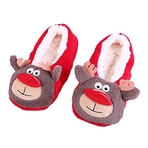 Bluestercool Women Cotton Warm Indoor Slippers Soft Plush Christmas Shoes (A)