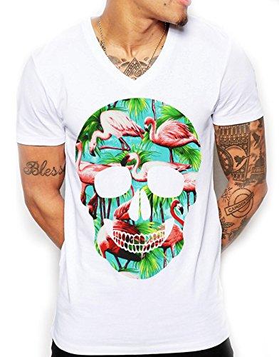 Herren-T Shirt, Flamingo, Totenkopf, V-Ausschnitt, jugendlich Gr. Small, weiß (T-shirt Jugend-größe 2)