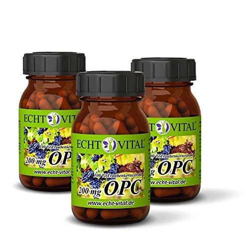 ECHT VITAL OPC Traubenkernextrakt   OPC Qualität aus Frankreich   180 Kapseln OPC - 3 Gläser   100{2101dc56df9854aa9e0edd27d95c2f5b504f7f03f08b63dd8ec8a2115daecab0} natürliches OPC   200 mg reines OPC je Kapsel geprüft nach HPLC   Deutsche Markenqualität   Vegan