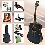 Einsteiger Westerngitarre Set XXL mit viel Zubehör, Gitarrenständer, gefütterter Gitarrentasche, Clip-Stimmgerät, Gitarrengurt, Saiten, 6 Plektren und hervorragendes Gitarrenbuch incl. CD (Blue)