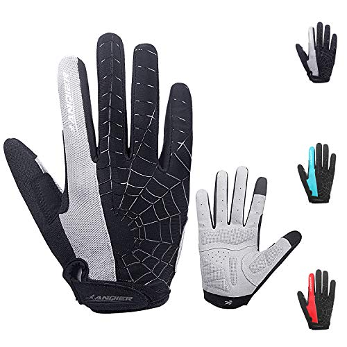 coskefy Fahrradhandschuhe Herren DamenFitness Handschuhe Gepolsterte Atmungsaktive rutschfest Mountainbike Radsporthandschuhe(Vollfinger & Halbfinger) (Grau-1, L) (Bekleidung Mountainbike)