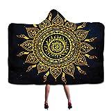 Mandala - Coperta in pile con stampa di loto dorato, con cappuccio, per meditazione psichedelica, yoga, con cappuccio 51 * 59in multicolore