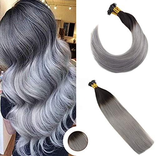 Ugeat flat tip cheratina brasiliana per capelli 18 pollici #1b/silver flat tip extension capelli grigi veri cheratina 50g 1g/meche