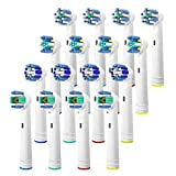 Replacement Brush Heads Compatible with Oral B, 16Pcs Toothbrush Heads for Oral B Works with Precision, Cross, Whitening & Floss