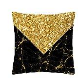 asdfkong Cuscino Marmo Nero Oro Cuscino per Cereali Quadrato Federa Decorazione per La Casa Stampato Elegante semplicità 45X45CM