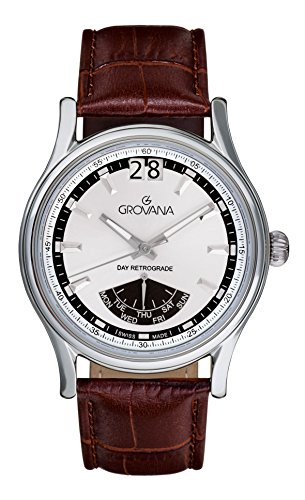 Grovana Men's Quartz Watch with Silver Dial Analogue Display and Brown Leather Strap 1733.1532