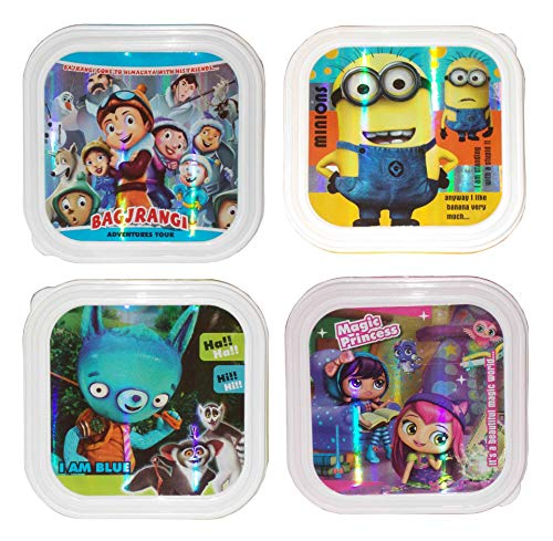 Kotak Sales Kids Children Fun Food Cartoon Print Lunchbox 1 Compartment with 2in1 Spoon Fork Return Gifts for Kids Birthday Party (Set of 04 Pcs)