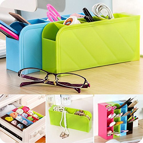 Toku Multifunction Four Grid Candy-colored Desktop Debris Storage Organizer Box for Office,stationery...
