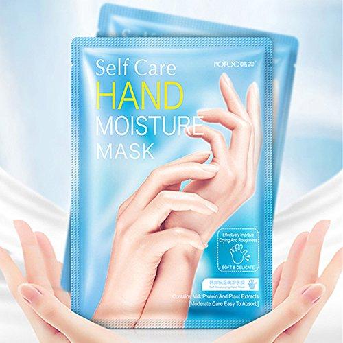 Máscara hidratante exfoliante, hidratante y alisadora de manos, contiene máscara de spa para el cuidado de la mano de leche nutritiva para hombres y mujeres para aliviar la piel seca, manos rugosas (1 par)