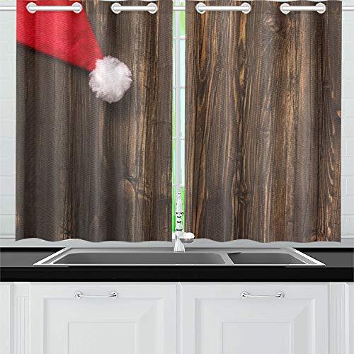 JINCAII Santas Hut über Alten Grunge Holz Küchenvorhänge Fenster Vorhang Stufen für Café, Bad, Wäscheservice, Wohnzimmer Schlafzimmer 26 X 39 Zoll 2 Stück -