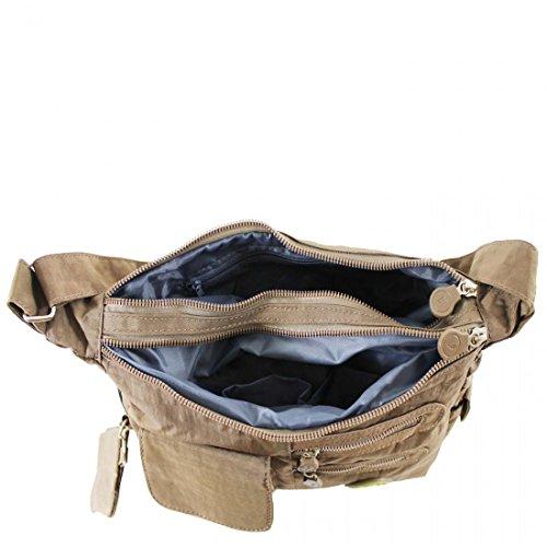 LeahWard® Klein Größe Damen Nylon Schultertaschen Groß Marke Handtaschen Water Proof Tote Zum Damen BEIGE H21cm x W33cm x D10cm