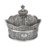 1 unid Metal Vintage aleación de Zinc Caja de joyería Flor tallada Corona Diseño Estilo antiguo Princess Maquillaje Organizador para el anillo de almacenamiento
