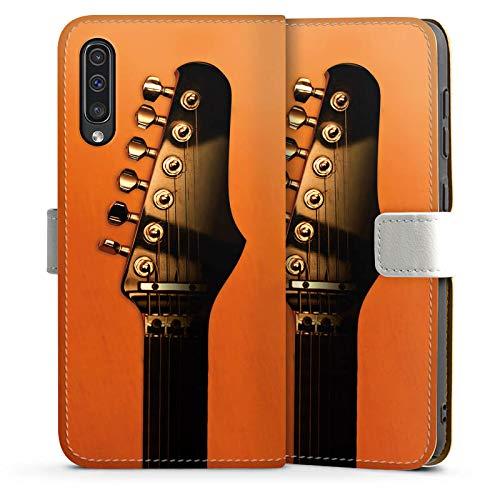 DeinDesign Tasche kompatibel mit Samsung Galaxy A50 Leder Flip Case Ledertasche Gitarre Saiten Instrument