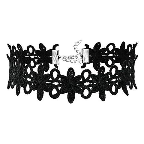 Bishilin Samt Spitze Choker Damen Halskette Halsband Blume Silber Schwarz Halskette Verstellbare Länge 34.2+5.3CM