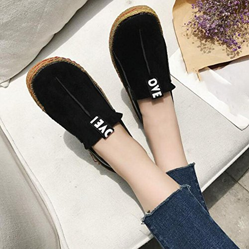 WYWQ 2018 New Women's Round Head Flat Single Shoes Studente a piedi A Pedal Large Size 35-42 Spring And Autumn black