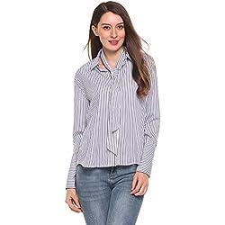 Zeagoo Damen Gestreift Hemd Langarm Bluse Casual T-shirt Stehkragen Frühling Herbst