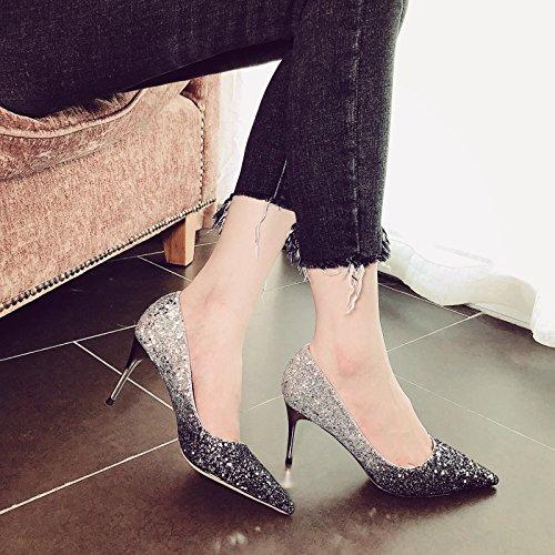 Xue Qiqi Court Schuhe Silberne Brautschuhe, die Schuhe der Frauen beschuhen, beschuht einzelne Schuhe weibliche Spitze Stöckelschuhe mit Geldstrafe, 40, Schwarzes und Silber 6CM
