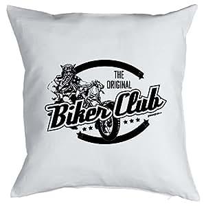 Kissen mit Füllung - Biker Club - Witziges Zusatzkissen, Kuschelkissen, 40x40 als Geschenkidee. Biker
