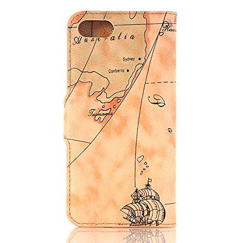 5,5 zoll iPhone 7 Plus Schutzhülle, TechCode® Bunte Retro Muster Druck Flip PU Leder Tasche Case Hülle im Bookstyle mit Kartenfächer Hülle Case für Apple iPhone 7 PLUS 5,5'' (iPhone 7 Plus, A04) A05